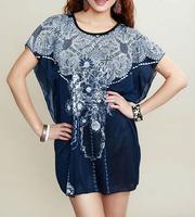 2014 NEW Sexy Summer Beach Dress Women Girls Fashion Ice Silk Casual Desigual Print Short Sleeve Loose Boho Dress Vestidos