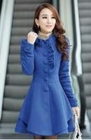 Women's winter sweet wool princess coat medium-long slim woolen outerwear