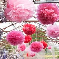 """15pcs/ lot 10"""" / 25cm Tissue Paper Pom Poms Flower Balls Wedding Party Tissue Paper Poms Wedding Party Decoration Craft  Flower"""