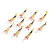052 Lifelike Shrimp Style Soft Rubber Fishing Bait - Multicolored (10 PCS)