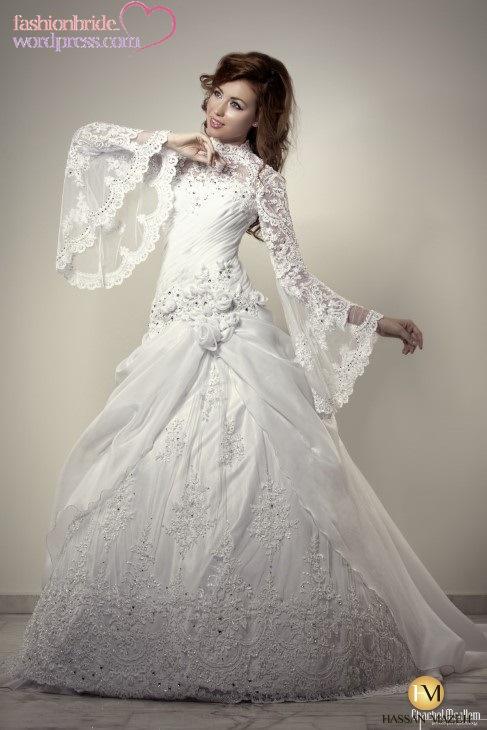 Long Bell Sleeve Wedding Dress