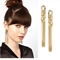 Clothes Accessories Gold Color Copper Snake Chain All-match OL Long Design Tassel Earrings Female Drop Earring for Elegant women