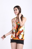 Summer new large size ladies' milk silk v-neck sleeveless iris loose women's t-shirts wholesale
