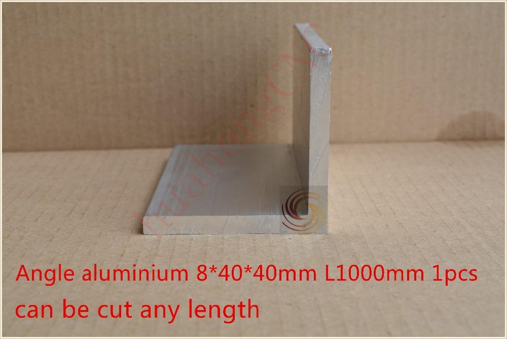 1pcs 8 * 40 * 40mm length 1000 mm L type aluminium equilateral triangle angle aluminium profile diy machine accessories cnc part(China (Mainland))