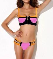 Free shipping 2014 Women's Bandage Bikini Set Push-up Padded Bra Zipper Swimsuit Bathing Suit Swimwear