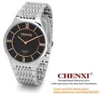 2014 ultrathin lovers watch New Luxury Sport Stainless Steel Date Quartz Analog white Dial Mens Wrist Watch Chenxi ebay black
