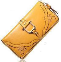 High Quality Women Wallets Oix Wax Genuine Cow Leather Zipper Wallet,Fashion Ladies Day Clutch Brand Purses,Big Capacity