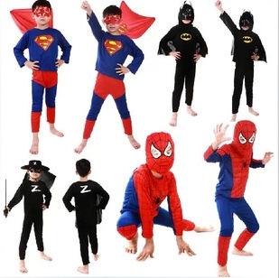 2014 Hot sale new party dresses Free shipping Spider-man Superman Batman Zorro costume boys clothing children Spiderman set(China (Mainland))