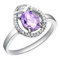 2014 real direct selling free shipping Quality 18k gold plated amethyst crystal ring for women female size 7 8 9  party