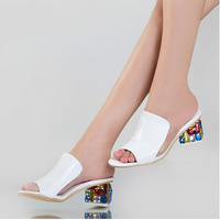Free Shipping Size 34 to 40 Plus Size 2014 New Fish Mouth Casual Shoes Sandals Rough  Rome Code Summer Sandals Genuine Leather