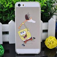 New arrival cute cartoon SpongeBob SquarePants pattern Cover case for apple iphone 5 5G 5S PT1215