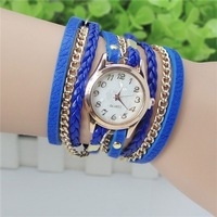 Recommended 2014 Hot Wholesale Special Hawaiian Ladies Fashion Long Chain Leather Quartz Watch Free Shipping