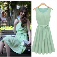New 2014 Fashion beautiful Woman dress Europe and the United States Mint Green Pearl Pleated Chiffon Dress Free shipping