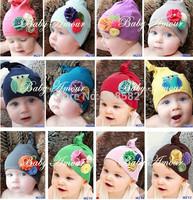 XM020- Dropship Free Lovely NEW baby  flower owl Hat boys girls cotton Infant hat skull cap 11 colors