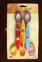 6 pcs/lot DIY Plastic Decorative Craft Enfant School Scissors for Paper Cutter Scrapbooking  card making memory album decoration