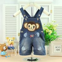 New Baby kids Bear Cartoon Jeans Romper Girl pants jumpsuits children's denim overalls 1-3year B047