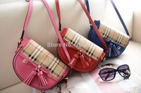 MG959 B Plaid genuine leather tassels cover messenger bag wholesale drop shipping free shipping