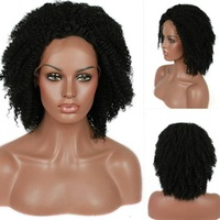 Free Shipping perucas Cheap Blace Women Kinky Curly Short Synthetic Lace Front Wig