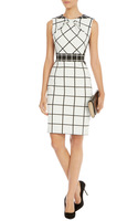 2014 New Classic Black and White Plaid Print Ruffle Collar Was Thin Waist Back Zipper Dresses DR224 S~XXL Free shipping