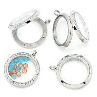 1PC Floating Charm Locket Necklace DIY Round Silver Tone 3.6x3cm