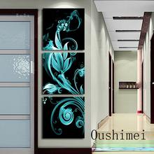 Handmade 3 Pintura Painel Wall Art Porch Pendure Imagem Oil Home Decor na pintura da lona Fire Flower para sala de estar como o dom(China (Mainland))