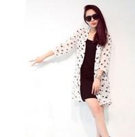 New Summer women UV sun block  Beach shirt  d Fashion chiffon  sun protection clothing shirt  long-sleeve transparent female