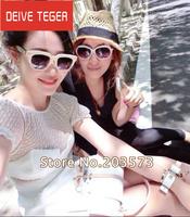 (DEIVE TEGER)2014 Designer European  White  O-Neck puff Sleeves Above Knee Eye Lash Lace Patchwork Women Silk mini Dress DT187