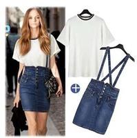 2014 European Fashion Summer Short High Waist Skirt Woman High Quality Plus Size Suspender Denim Skirts Suit