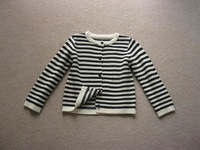 SW4010  children's girl wool cashmere  stripe sweater coat cardigan
