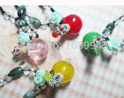 Yaoya 6 pçs/lote rodada colares Perfume Murano vidro pendent Vial / Perfume colar de garrafa com Crystal grátis frete(China (Mainland))