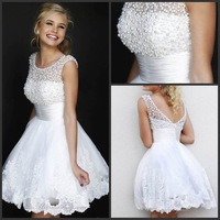 Hot Sale Cheap Sweet shoulder beaded chiffon dress applique summer 2014 Homecoming short Dresses