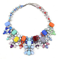 Summer Trendy Fully Hand made  Multicolor Choker Bib Banquet Necklace Best gift for your girls Vintage Silver Alloy Bubbledream