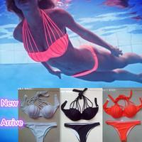 Sexy Hollow Rope Bikinis Set New 2014 Brand Bandage Swimwear Women Push Up Swimsuit Vintage Padded Beach Bikini Free Shipping