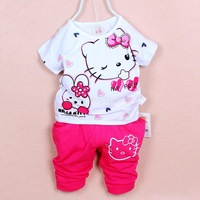 new 2014 Hello kitty new summer two-piece suit sleeves Shorts