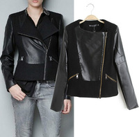 2014 Spring European style with the new Slim models pu stitching wool woolen collar diagonal zipper leather jacket women