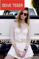 (DEIVE TEGER)2014 Designer European  White  O-Neck long  Sleeves Lace Patchwork Women mini Dress DT188