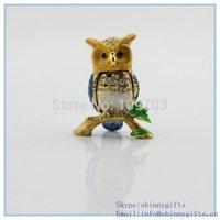 Alloy metal owl shape animal trinket box for jewelry   SCJ821