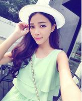 Free Shipping Women Girls Long Summer Pleated Chiffon One-Piece Dress Three Colors