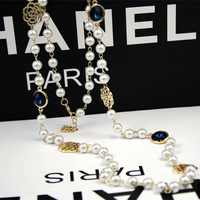 Min.order is $10(mix order)18K gold plated Embedded Blue crystal exquisite Pearl necklace jewelry