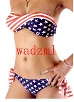 1pc Ladies Bikini Bandeau Stars And Stripes US Flag Padded Twisted bandeau Fashion bandeau tube swim wear