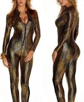 2014 New Sexy Adult Women PUNK PVC Faxu Leather latex Vinyl Pole dance bodycon jumpsuit,Snakeskin point paint conjoined lingerie