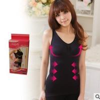 1pc free shipping Japan style germanium slimming vest anastatus vest super black and beige spandex body shaper corset