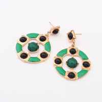 Fashion Europe Charms Women Round Green Stud Earrings ZC6P8 Free Shipping