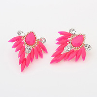 New Designer Big Jewelry Leaf Style Shourouk Stud Earrings For Women ZC5P3C Free Shipping
