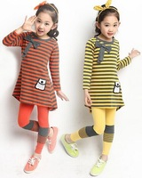 New 2014 girls clothing sets striped full sleeve T shirts+leggingsbow Children Clothing free shipping