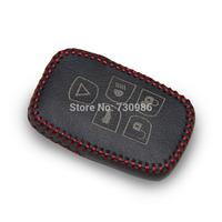 XuJi Black Genuine Leather Car Key Cover for 2013 Land Rover Freelander 2