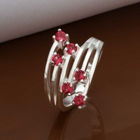 Free Shipping Wholesale 925 Sterling Silver Ring,925 Silver Fashion Jewelry Meteor insets Ring SMTR368