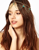 Free shipping!  2014 New fashion bohemian turquoise gold chain romantic headBands hair accessories costume tribal wholesale