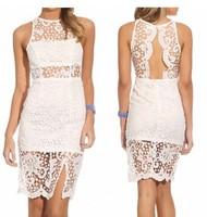 women summer dress 2014 desigual lace halter knee-length Party Sleeveless sexy dress slit dresses