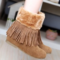 Warm winter snow boots plush fur collar solid inner tube eversion mouth increased in Korean fashion boots with tassels
